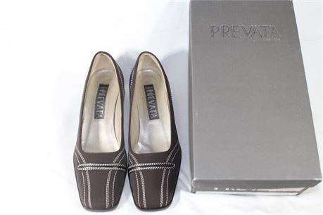 Prevata Chocolate Fabric Stitch Pumps w/ Dress Wedge Heels,  Size 6.5 B
