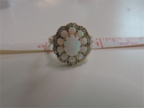 10kt Gold Fire Opal Cluster Ring