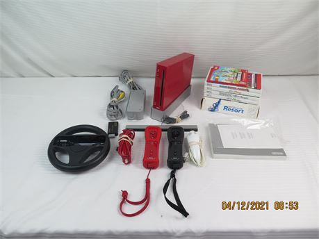 Nintendo Wii RVL-001 Red Game Console w/ 2 Controllers, Wheel, 7 Video Games