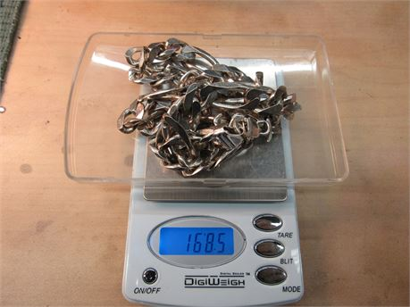 Sterling Silver .925 Italy Men's Heavy Chain Hallmarked 168.5g (650)