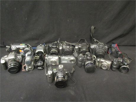 Lot of 15 Cameras Various Brands UNTESTED FPOR No Battery Chargers