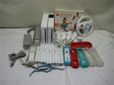 Two Nintendo Wii Video Game Console W/ 1 Power + Accessories