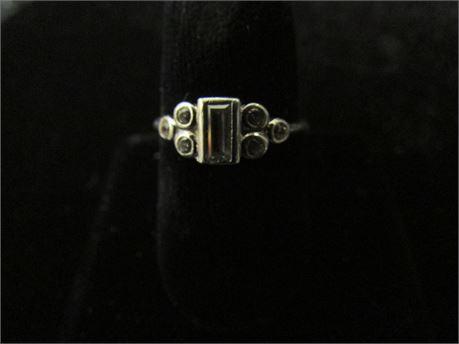 925 Silver Emerald Cut Rhinestone Ring