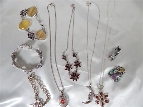 Sterling Silver Lot 9 Pieces All Wearable 165.28 grams (270R1B)