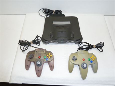Nintendo 64 (NUS-001) Control Deck(Powers On/Not Tested & 2 Controllers