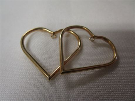 14 Karat Yellow Gold Heart Earrings 2.25 Grams Tested with JSP