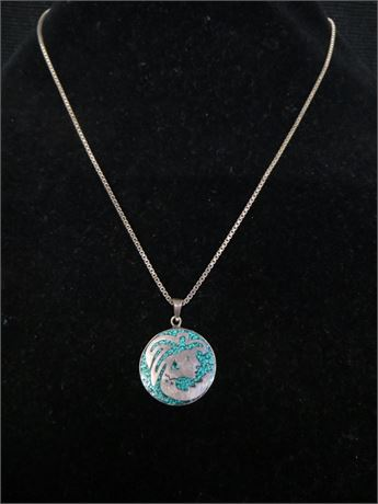 925 Mexico Silver and TurquoisePendant w/ Box Chain