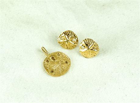 14K Yellow Gold Sand Dollar Pendant & Stud Earring Set 1.42 Grams (579-J)