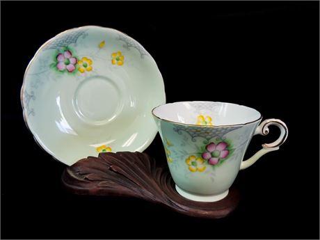 Wellington JHC & Co. England Best Bone China Teacup & Saucer - Mint Green Floral