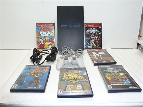 Lot Of PS2 1 Console,1 Controllers, And 6 Games Pre-Owned