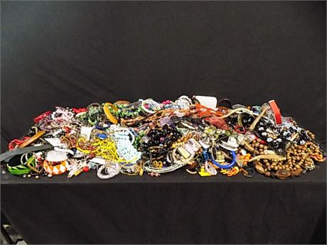 Bead and Stone Costume Jewelry Lot; 33.9 lbs