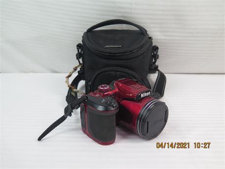 Nikon COOLPIX B500 16.0 MP Digital Camera - Red - w/ 32GB SD Card (670)