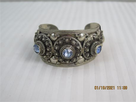SIAM Signed 925 Sterling Silver Large Cuff Bracelet - 56.09g (670)