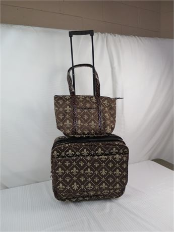 Non-Brand Rolling Briefcase with matching Lunch bag-Used (670)