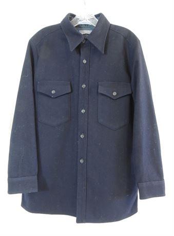 Pendleton Outdoors Man Pure Virgin Wool Navy Blue L/S Shirt Men's Size Large