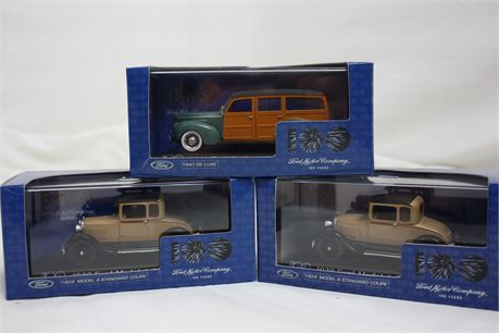 3 Ford Motor Company 100 years Model Cars