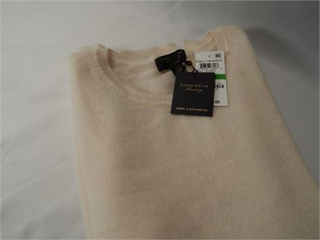 Ivory Cashmere Crew Neck Sweater Size L (270r4s2)