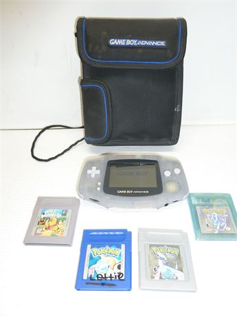 Nintendo Game Boy Advance Console(No A/C Cord or Battery Cover) 4 Games & Case
