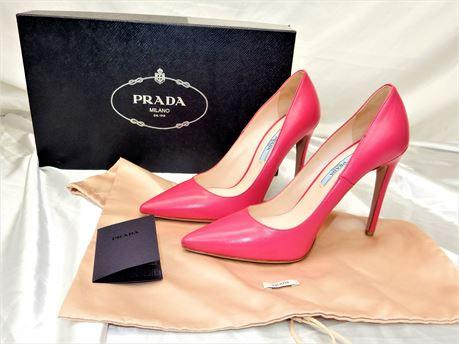 PRADA Hot Pink Leather Pointed Toe Pump Heels 37 1/2 Women