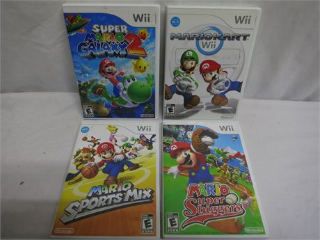 """Four Excellent Nintendo Wii """"Mario"""" Video Games Complete"""