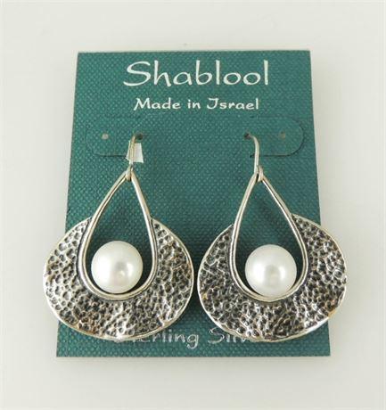 NWT Shablool Didae Sterling Silver Freshwater Pearl Drop/Dangle Earrings (579-J)
