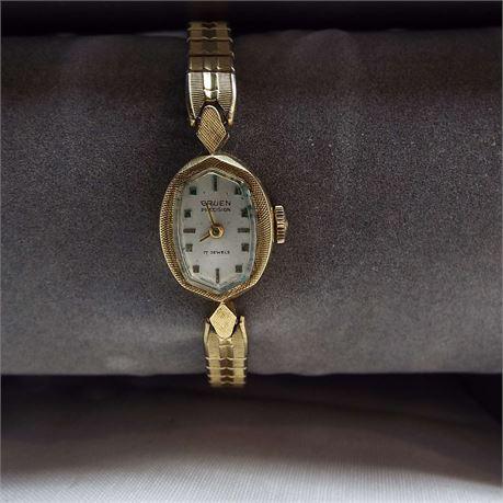 Vintage 14 kt Gruen Watch Not Running 17 Jewel