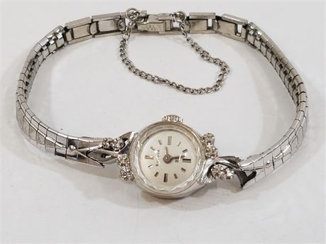 Bulova 23 14K White Gold & Diamond Watch.