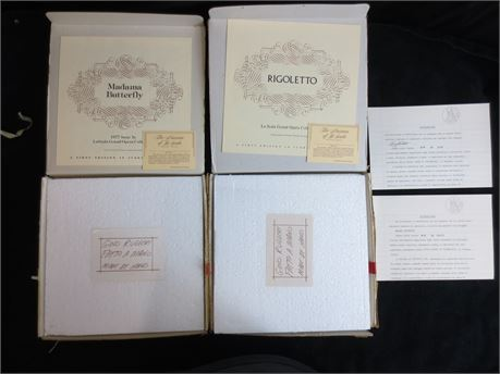 2 Decorative Plates from La Scala Opera Collection Madama Butterfly & Rigoletto