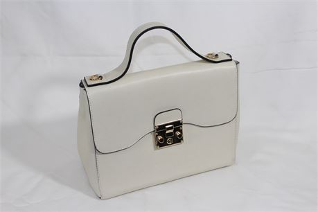 Borse In Pelle White Leather Hand Bag