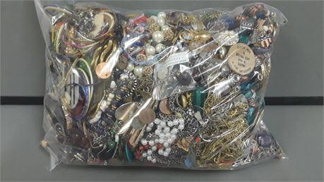 Lot Of Unsorted Scrap, Broken,  Metal, Costume Jewelry. 17 lbs. 1.7 oz. W/ Bag