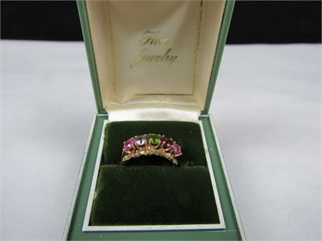 10k Solid Gold Women's Ring With 5 Various Stones 3.1g  (650)