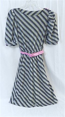 Vintage 1980's J.B. Express Belted Gray & Pink Knit Dress w/Balloon Sleeves Sz 7