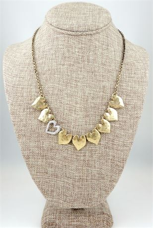 Lucky Brand Dual Tone Hammered Heart Motif Necklace (649-J)