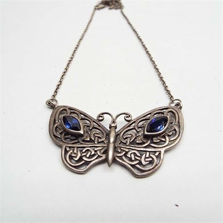 """18"""" Sterling Silver & Amethyst  Butterfly Necklace 13.3 Grams"""