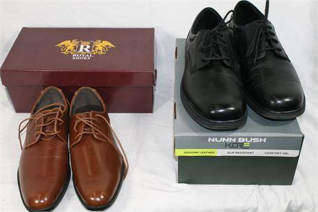 Men's Dress Shoes, Lot of 2, Royal Alen Brown Size 9.5, Nunn Bush, Size 13