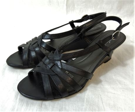 Natural Soul by Naturalizer Black Leather Strappy Wedge Sandals Size 8M (579)