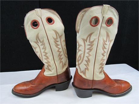 Tony Lama Cowboy Boots Made in USA Size 12D Brown and Tan  (650)