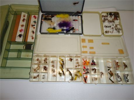 Lot Of Hand Tied Fishing Flies In Cases (Many Identified)