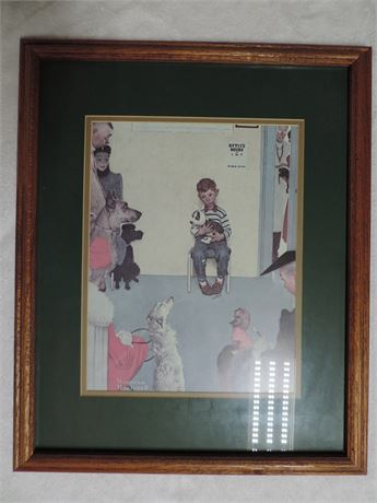 Norman Rockwell Boy And Dog Litho WAITING FOR THE VET
