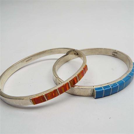 2 Sterling Silver Inlay Turquoise & Fire Opal Orange Bracelets 46.4 Grams
