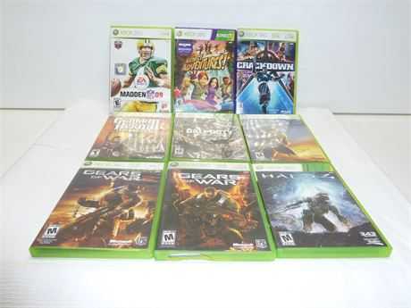 Lot Of X-Box 360 Video Games 9 Total Various Titles Pre-Owned