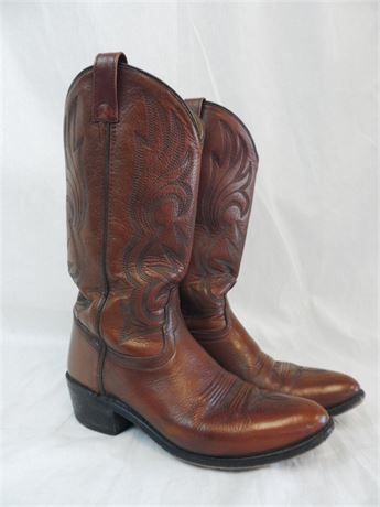 Men's Jama Brown Leather Western Style Cowboy Boot Sz 9.5D