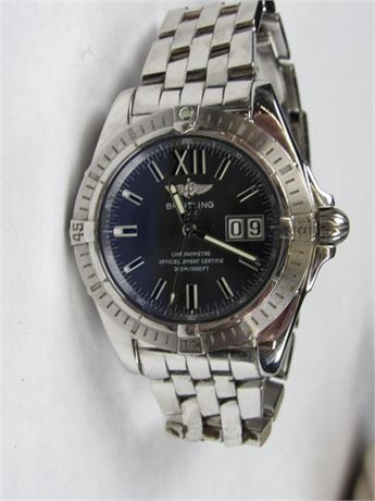 Beautiful Men's Breitling Stainless Steel Chronometre Watch WORKING (650)
