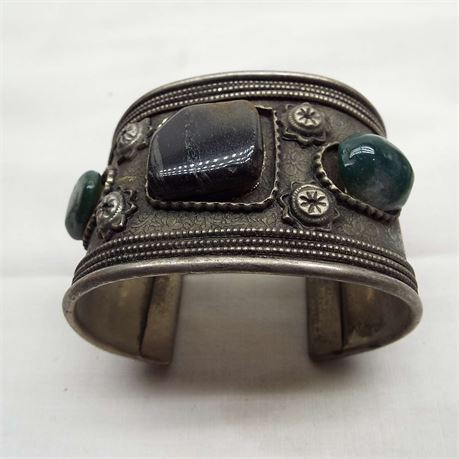 Vintage Cuff Bracelet Made In India With Stones