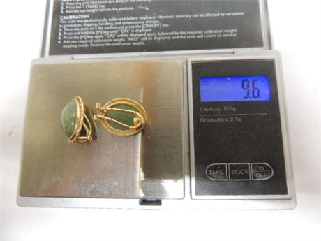 14kt Gold Earrings With Green Stones 9.6 Grams