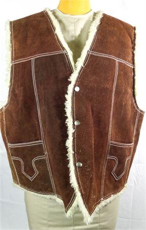 Vintage Men's Brown Suede Leather Sherpa Lined Vest - Western Rancher Cowboy
