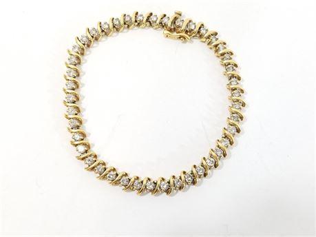 "18K Yellow Gold Tennis 7 3/4""  Bracelet W/ 42 Diamonds. 16.1 Grams Total Weight"