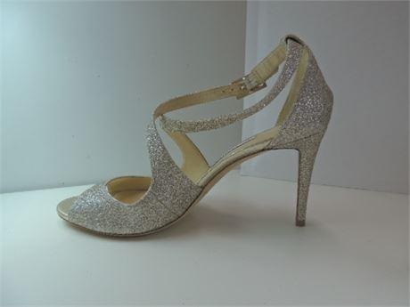 "JIMMY CHOO 3.5 "" Champagne Glitter Heels Size 39.5"