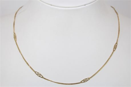 3.5 g 14k Yellow Gold Chain Necklace 16 in
