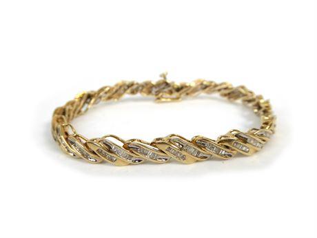 10 K VIP Yellow Gold Bracelet w/ Lots of Small Diamonds, 14.2 Grams